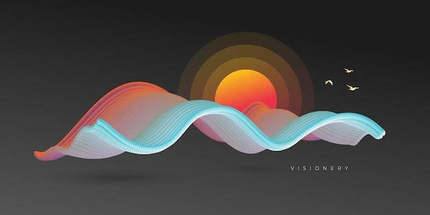 Fond de lever de soleil conceptuel avec vague dynamique colorée
