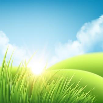 Fond de lever de soleil nature été, un paysage avec des collines et des prairies verdoyantes, un ciel bleu et des nuages.