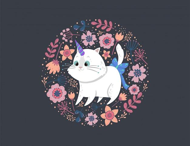 Fond avec une licorne de chat mignon, des feuilles et des fleurs.
