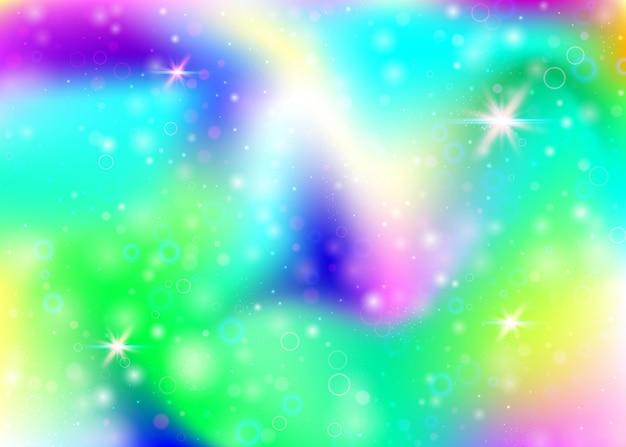 Fond de licorne avec maille arc-en-ciel. bannière de l'univers kawaii aux couleurs de princesse. toile de fond dégradé fantaisie avec hologramme. fond de licorne holographique avec des étincelles magiques, des étoiles et des flous.