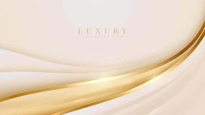 Fond de ligne courbe dorée de luxe. conception de couverture moderne. concept de modèle de carte d'invitation. illustration vectorielle.