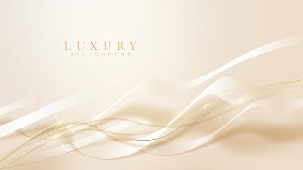 Fond de ligne dorée ondulée de luxe avec des paillettes légères scintillantes