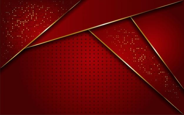 Fond de ligne rouge et or de luxe