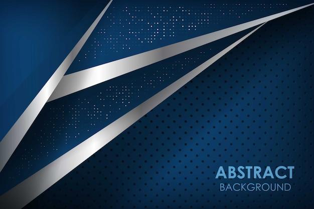 Fond de ligne de ruban bleu abstrait avec des couches de chevauchement marine. texture avec décoration d'élément de points scintillants.