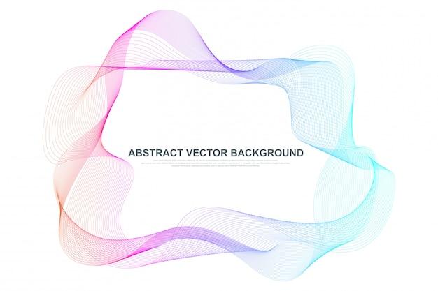 Fond de lignes abstraites vagues colorées. cadre en maille filaire circulaire
