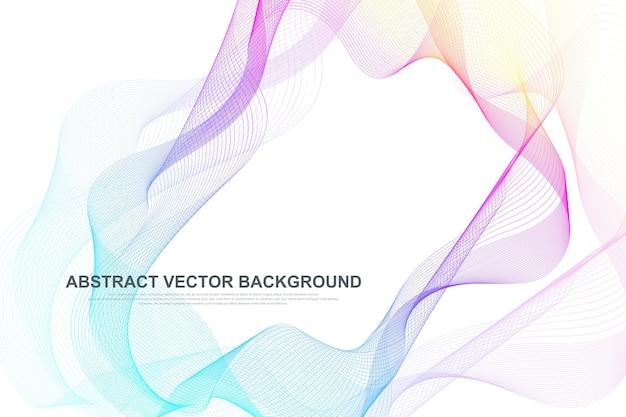 Fond de lignes abstraites vagues colorées. élément de maille filaire circulaire.