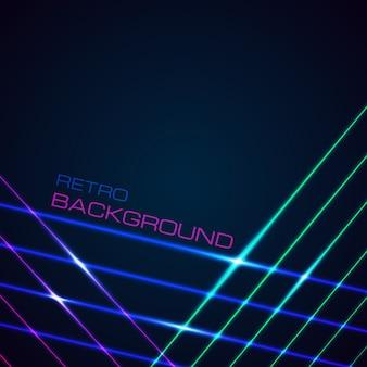 Fond de lignes lumineuses au néon avec un style des années 80. fond d'écran numérique