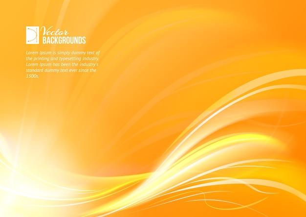 Fond de lignes lumineuses lisses orange