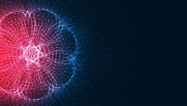 Fond de lignes de technologie abstraite fractale rougeoyante