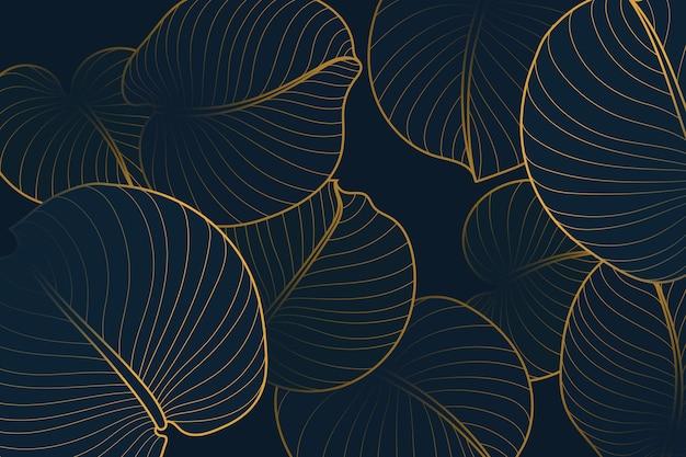 Fond linéaire dégradé doré avec des feuilles de lys d'août