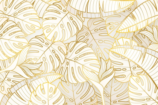Fond linéaire dégradé doré avec des feuilles de monstera deliciosa