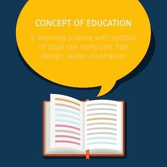 Fond de livre ouvert avec bulle de dialogue.