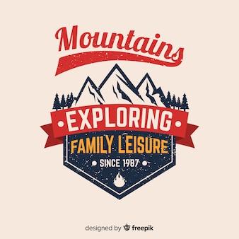 Fond de logo d'aventure vintage