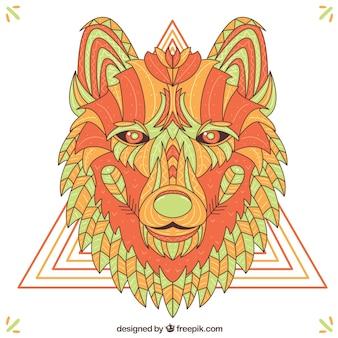 Fond de loup dessiné à la main ethnique