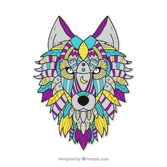 Fond de loup ethnique dessiné à la main