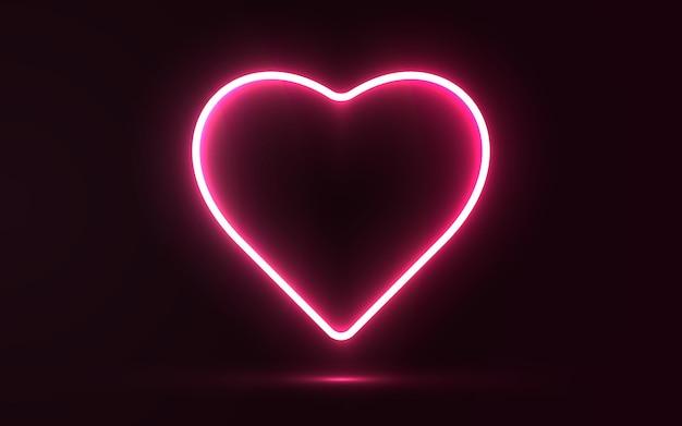 Fond de lumière néon coeur romantique