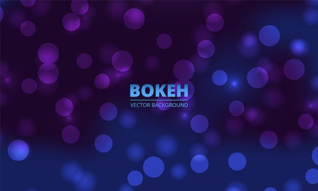 Fond de lumières bokeh bleu et violet. lumières blanches brillantes de vacances avec des étincelles. lumières défocalisées festives.