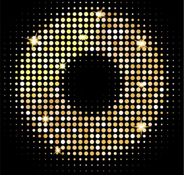 Fond de lumières disco or. mosaïque brillante dorée dans le style boule disco