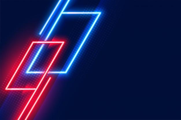 Fond de lumières rouge et bleu néon rougeoyant géométrique