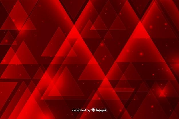 Fond de lumières rouges géométriques avec des triangles