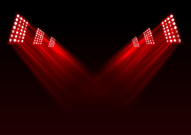 Fond de lumières de scène rouge