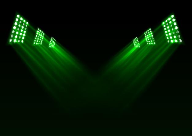 Fond de lumières de scène vert
