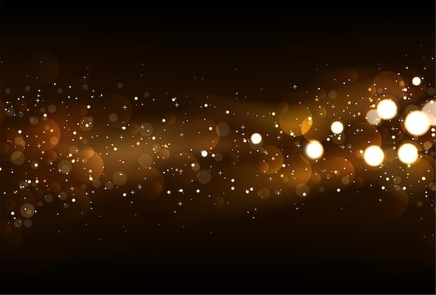Fond de lumières scintillantes défocalisé en or foncé et noir.