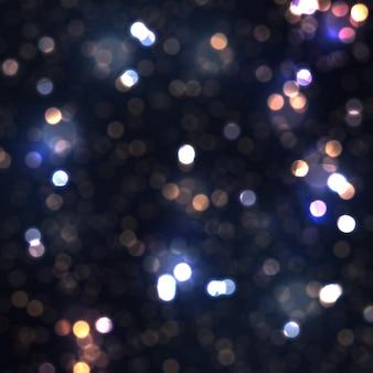 Fond lumineux bleu festif avec des lumières colorées, des reflets de bokeh volant de la poussière de particules incandescentes