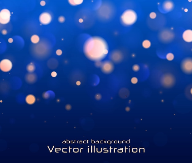 Fond lumineux bleu festif, lumières floues bokeh.