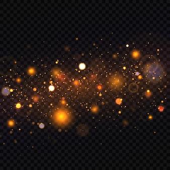 Fond lumineux doré festif avec bokeh de lumières colorées. particule de poussière magique étincelante.