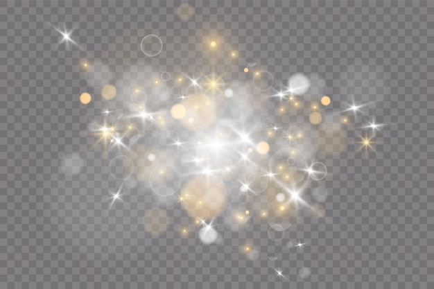 Fond lumineux festif violet et doré avec bokeh de lumières colorées. affiche de vacances magiques, bannière. l'or brillant de la nuit scintille résumé de la lumière
