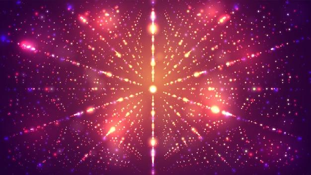 Fond lumineux à l'infini avec des éclairs d'étoiles