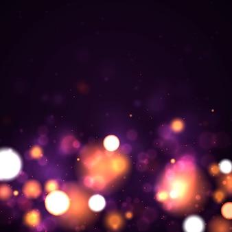 Fond lumineux violet et doré festif avec des lumières colorées bokeh.