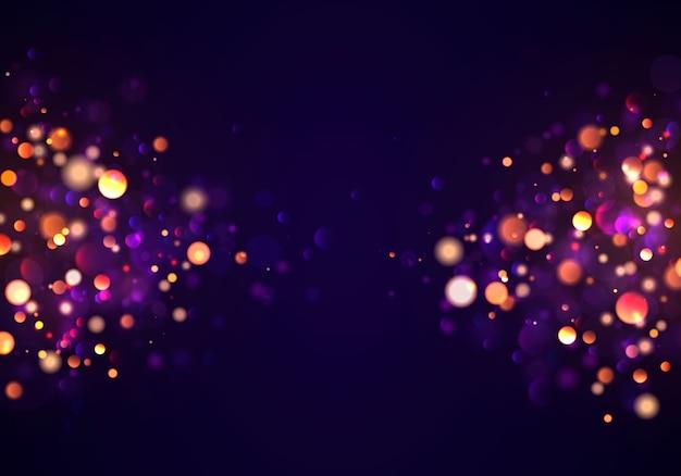 Fond lumineux violet et doré festif avec des lumières colorées dorées bokeh.