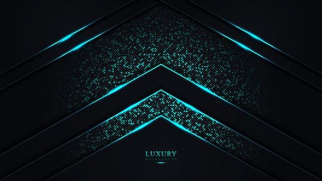 Fond de luxe abstrait bleu foncé. triangle bleu ligne points de paillettes futuristes modernes ..