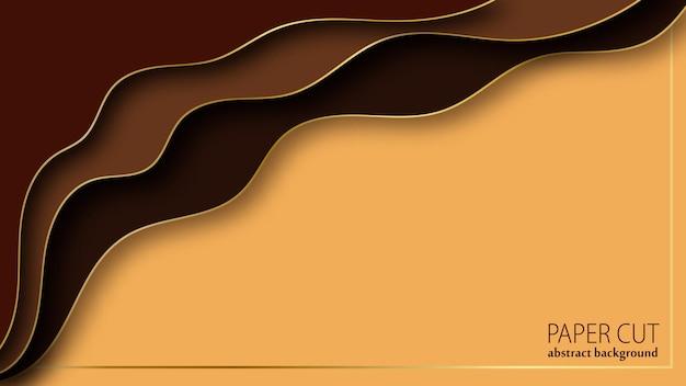 Fond de luxe abstrait dans un style de papier découpé. couches ondulées brunes et dorées. illustration vectorielle.