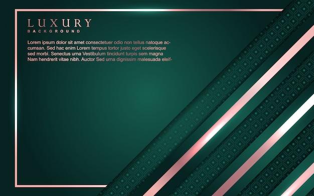 Fond de luxe abstrait avec décoration d'élément or vert et rose
