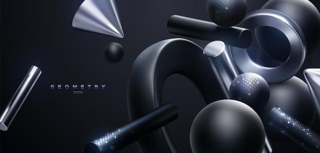 Fond de luxe abstrait de formes géométriques noires et argentées fluides avec des paillettes chatoyantes