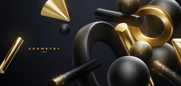 Fond de luxe abstrait de formes géométriques noires et dorées fluides avec des paillettes chatoyantes