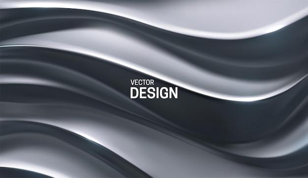 Fond de luxe abstrait avec relief argenté ondulé