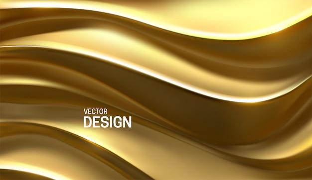Fond de luxe abstrait avec relief doré ondulé