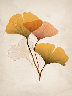 Fond de luxe, affiche avec or et ginkgo sec pour la conception de bannières, l'emballage ou le textile.