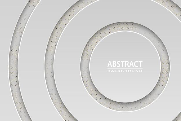 Fond de luxe blanc géométrique avec des éléments en or, concept de papier coupé