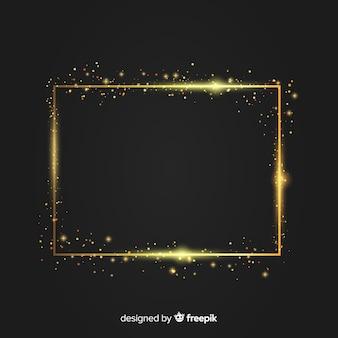Fond de luxe avec cadre étincelant doré
