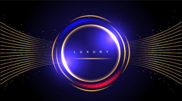 Fond de luxe, cercle abstrait élément de design moderne couleur brillante or avec effet de paillettes.