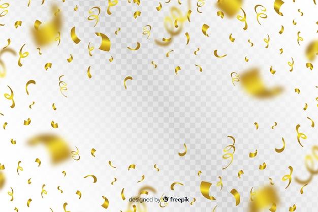 Fond de luxe avec des confettis d'or tombant