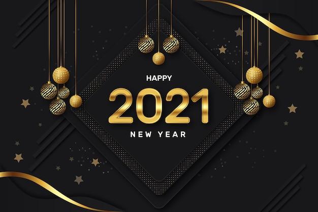 Fond de luxe doré créatif bonne année avec des boules et des étoiles