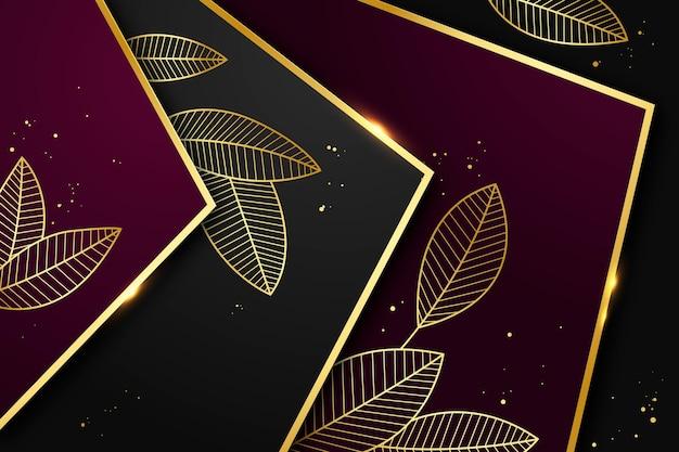 Fond de luxe doré dégradé avec des feuilles