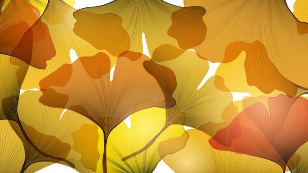 Fond de luxe avec des feuilles de ginkgo aux couleurs d'automne pour les médias sociaux et la décoration textile
