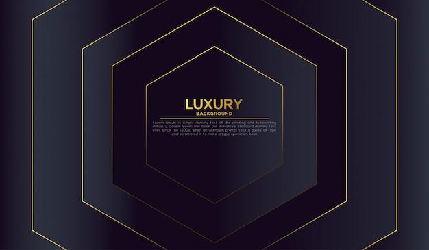 Fond de luxe avec des formes hexagonales abstraites dorées